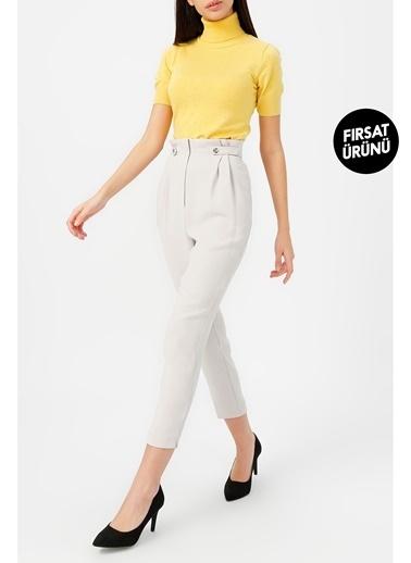 Random Kadın Yüksek Bel Pileli Pantolon Taş